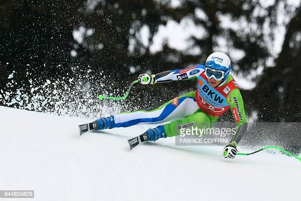TOPSHOT Ilka Stuhec of Slovenia competes in the Super G event during the Alpine Skiing FIS World Cup Ladies Alpine combined on February 24 2017 in...