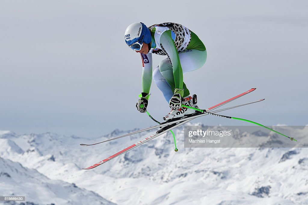 Ilka Stuhec of Slovenia in action during the Audi FIS Alpine Skiing World Cup downhill training on March 15, 2016 in St Moritz, Switzerland.