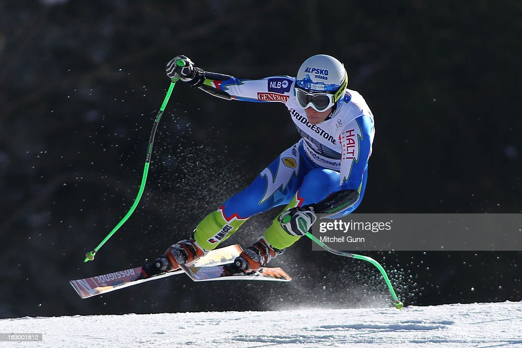 Ilka Stuhec of Slovenia races down the hill whilst competing in the Audi FIS Ski World Cup Super-G race on March 03, 2013 in Garmisch Partenkirchen, Germany.
