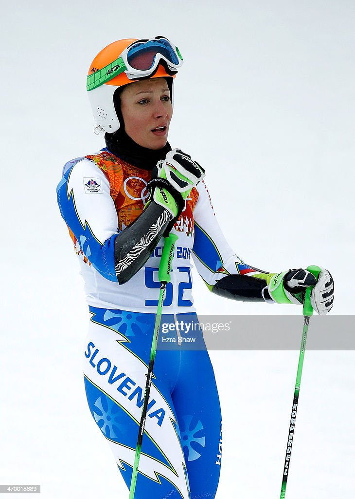 Ilka Stuhec of Slovenia reacts after a run during the Alpine Skiing Women's Giant Slalom on day 11 of the Sochi 2014 Winter Olympics at Rosa Khutor Alpine Center on February 18, 2014 in Sochi, Russia.