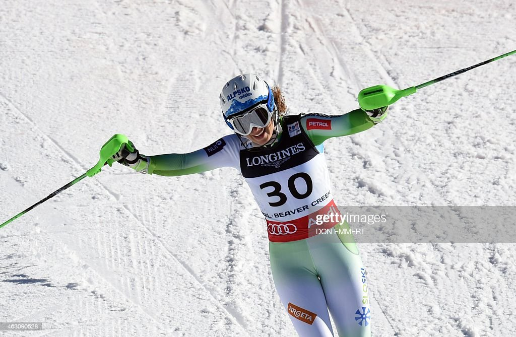 Ilka Stuhec of Slovenia reacts after crossing the finish line during the 2015 World Alpine Ski Championships women's combined-slalom February 9, 2015 in Beaver Creek, Colorado.