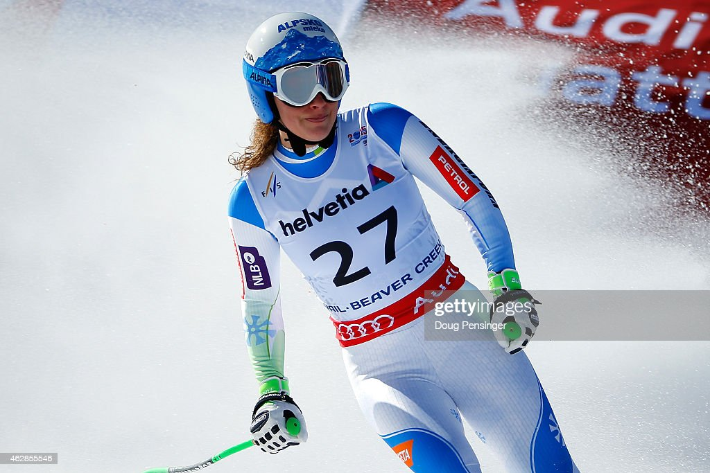 Ilka Stuhec of Slovenia reacts after crossing the finish of the Ladies' Downhill in Red Tail Stadium on Day 5 of the 2015 FIS Alpine World Ski Championships on February 6, 2015 in Beaver Creek, Colorado.