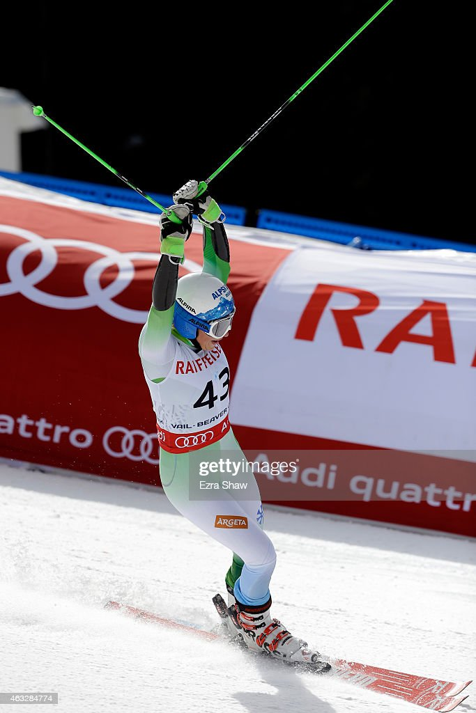 Ilka Stuhec of Slovenia reacts during the Ladies' Giant Slalom on the Raptor racecourse on Day 11 of the 2015 FIS Alpine World Ski Championships on February 12, 2015 in Beaver Creek, Colorado.
