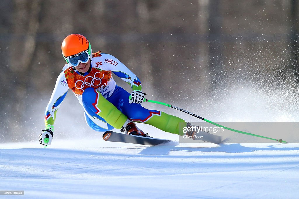 Ilka Stuhec of Slovenia skis during the Alpine Skiing Women's Downhill on day 5 of the Sochi 2014 Winter Olympics at Rosa Khutor Alpine Center on February 12, 2014 in Sochi, Russia.