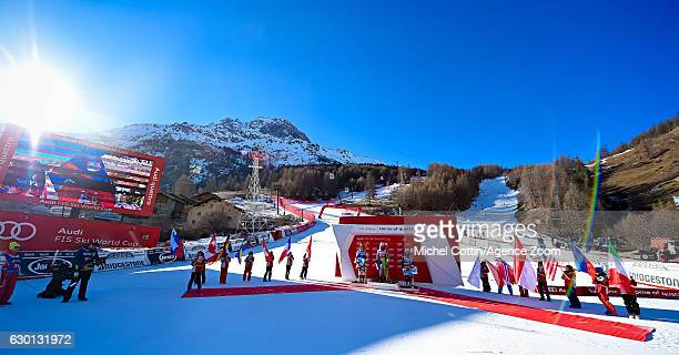 Ilka Stuhec of Slovenia takes 1st place Cornelia Huetter of Austria takes 2nd place Sofia Goggia of Italy takes 3rd place during the Audi FIS Alpine...
