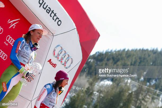 Ilka Stuhec of Slovenia wins the globe in the overall standings Wendy Holdener of Switzerland takes 3rd place in the overall standings during the...