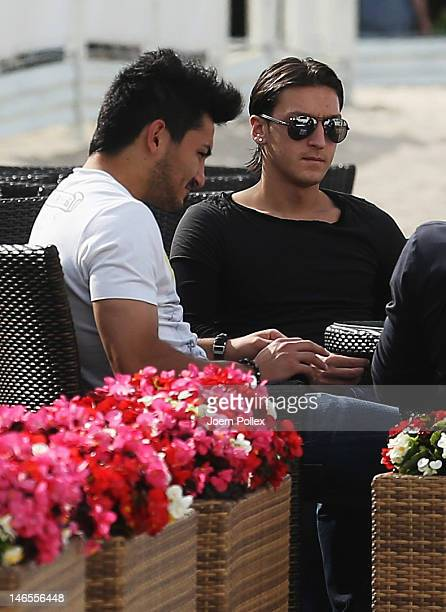Ilkay Guendogan and Mesut Oezil of the German national team are sighted in a beachbar at the beach on June 19 2012 in Sopot Poland