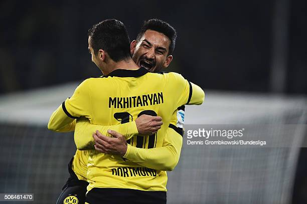 Ilkay Guendogan of Borussia Dortmund celebrates as he scores the third goal during the Bundesliga match between Borussia Moenchengladbach and...