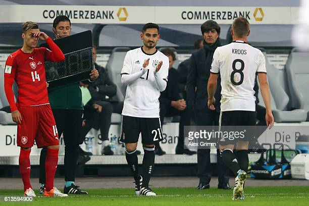 Ilkay Guendogan of Germany waits to replace team mate Toni Kroos during the FIFA World Cup 2018 qualifying match between Germany and Czech Republic...