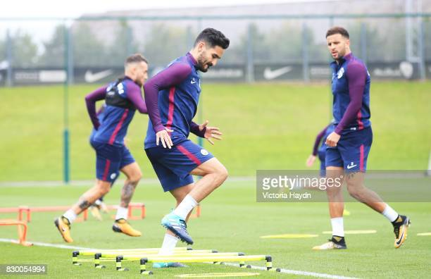 Ilkay Gundogan Manchester City during training at Etihad Campus on August 11 2017 in Manchester England