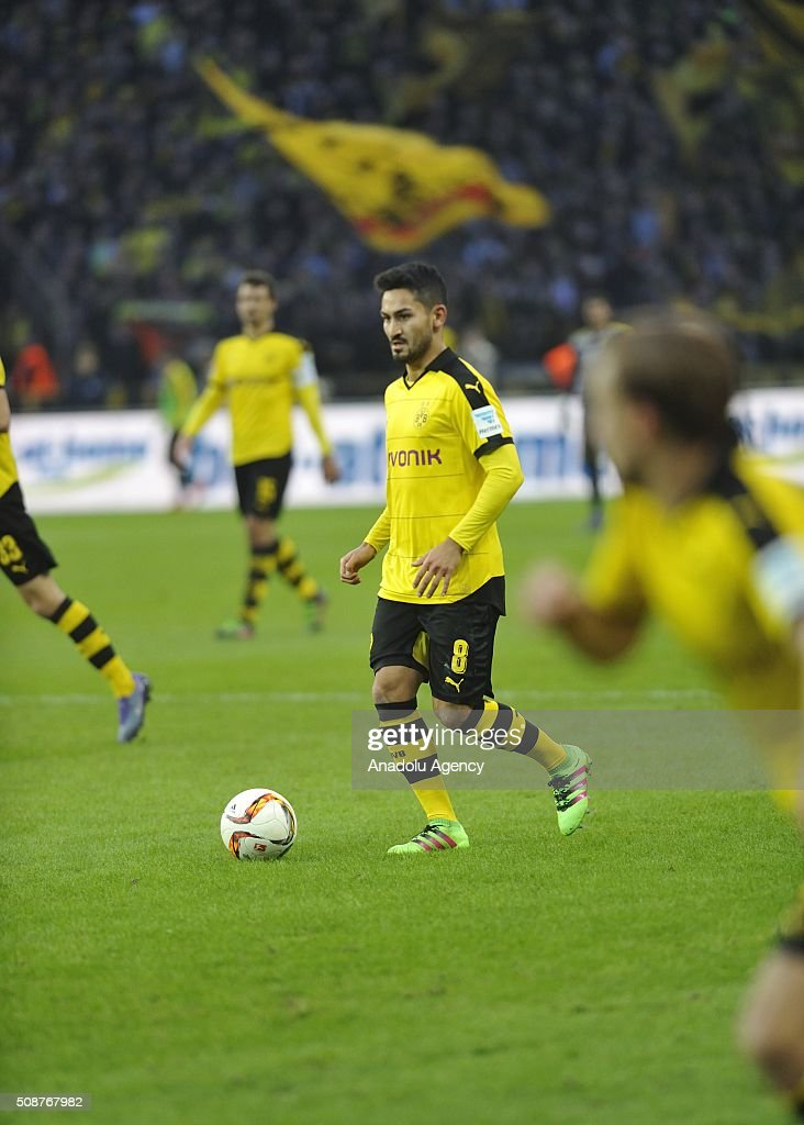Ilkay Gundogan of Dortmund in action during the Bundesliga match between Hertha BSC and Borussia Dortmund at Olympiastadion on February 6, 2016 in Berlin, Germany.