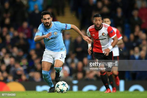 Ilkay Gundogan of Manchester City and Tonny Vilhena of Feyenoord in action during the UEFA Champions League group F match between Manchester City and...