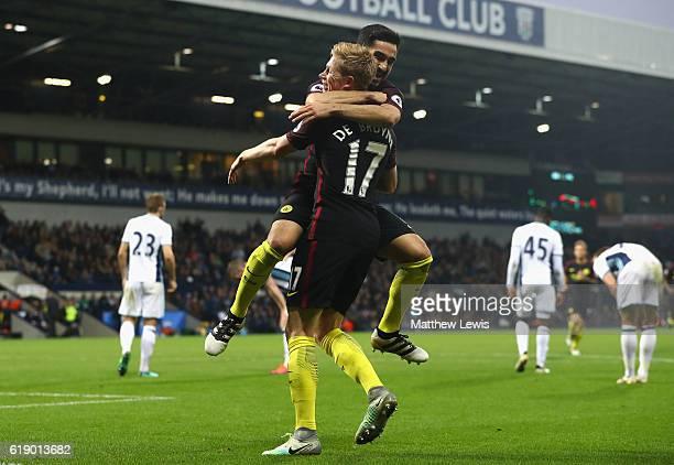 Ilkay Gundogan of Manchester City celebrates scoring his sides fourth goal with Kevin De Bruyne of Manchester City during the Premier League match...