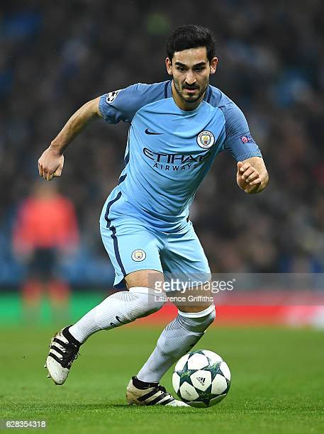 Ilkay Gundogan of Manchester City in action during the UEFA Champions League match between Manchester City FC and Celtic FC at Etihad Stadium on...