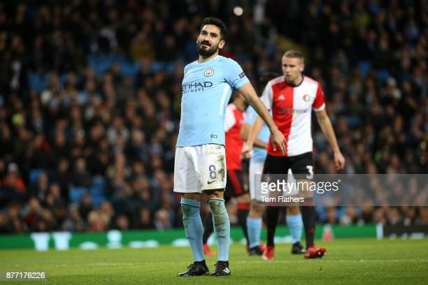 Ilkay Gundogan of Manchester City reacts during the UEFA Champions League group F match between Manchester City and Feyenoord at Etihad Stadium on...