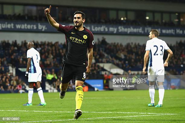 Ilkay Gundogan of Manchester City scores his sides fourth goal during the Premier League match between West Bromwich Albion and Manchester City at...