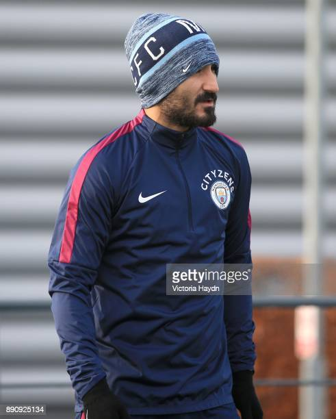 Ilkay Gundogan walks to training at Manchester City Football Academy on December 12 2017 in Manchester England