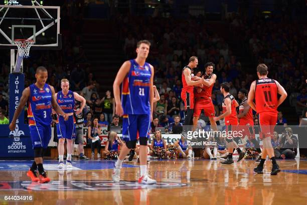 Illawarra Hawks players celebrate after the game three of the NBL Semi Final series between the Adelaide 36ers and the Illawarra Hawks at Titanium...