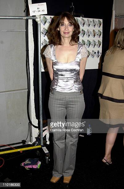 Illeana Douglas during MercedesBenz Fashion Week Spring 2004 Nanette Lepore Front Row and Backstage at Bryant Park in New York City New York United...