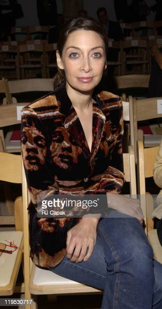 Illeana Douglas during MercedesBenz Fashion Week Spring 2004 Vivienne Tam Front Row at Bryant Park in New York City NY United States