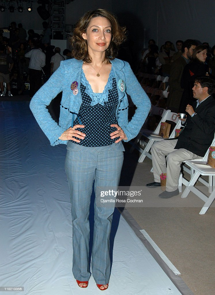 Illeana Douglas during Olympus Fashion Week Spring 2005 - Nanette Lepore - Front Row and Backstage at Plaza Tent, Bryant Park in New York City, New York, United States.