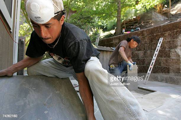 Illegal immigrants Misael Amrocio and Jose Augustine both of Guatemala layout a flagstone patio while working on a landscaping job May 23 2007 in San...