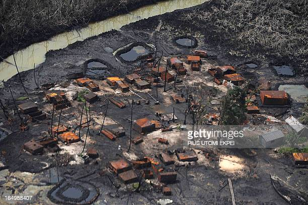 Illegal oil refinery destroyed by Joint Task Force at Nembe Creek in Niger Delta on March 22 2013 Shell Petroleum Development Company of Nigeria has...
