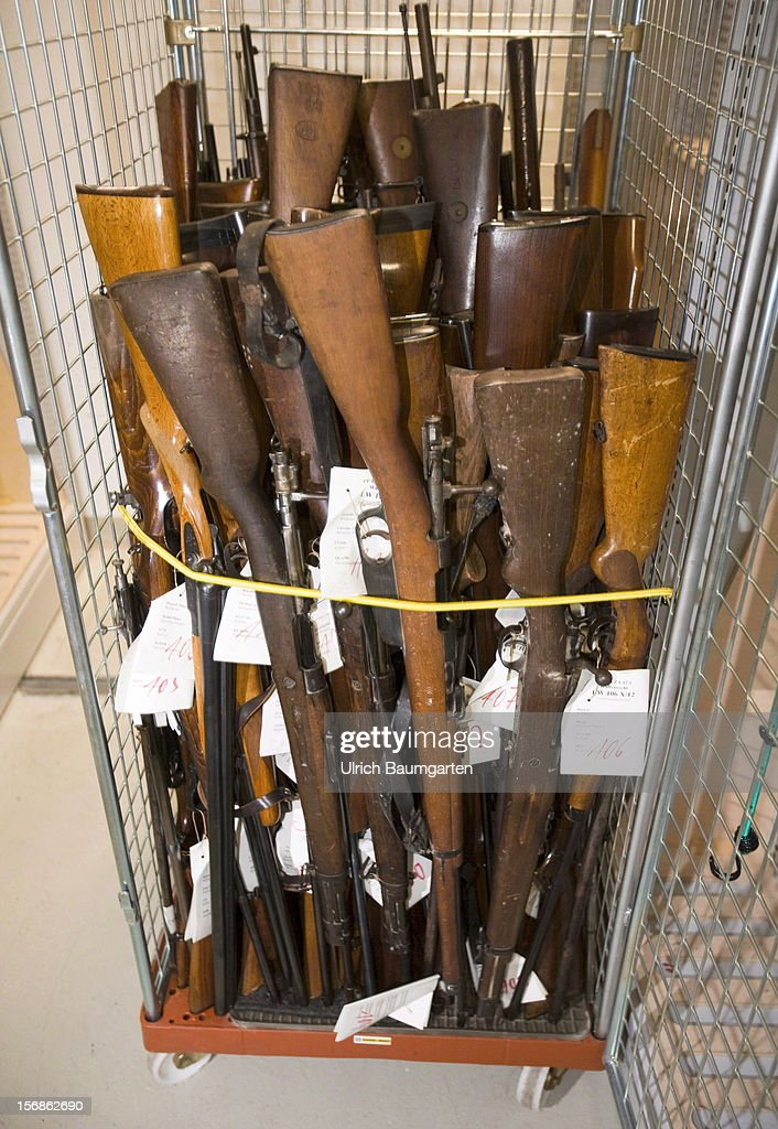 Illegal rifles confiscated by the German police are packed for the destroyment in the evidence room at the police headquarter on November 22, 2012 in Bonn, Germany.