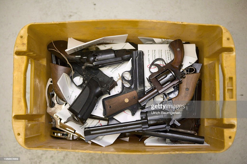 Illegal small arms confiscated by the German police are packed for the destroyment in the evidence room at the police headquarter on November 22, 2012 in Bonn, Germany.