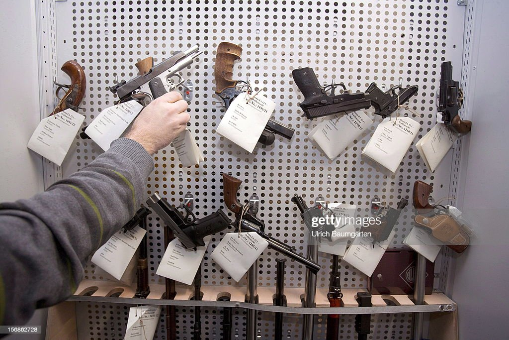 Illegal small arms confiscated by the German police in the evidence room at the police headquarter on November 22, 2012 in Bonn, Germany.