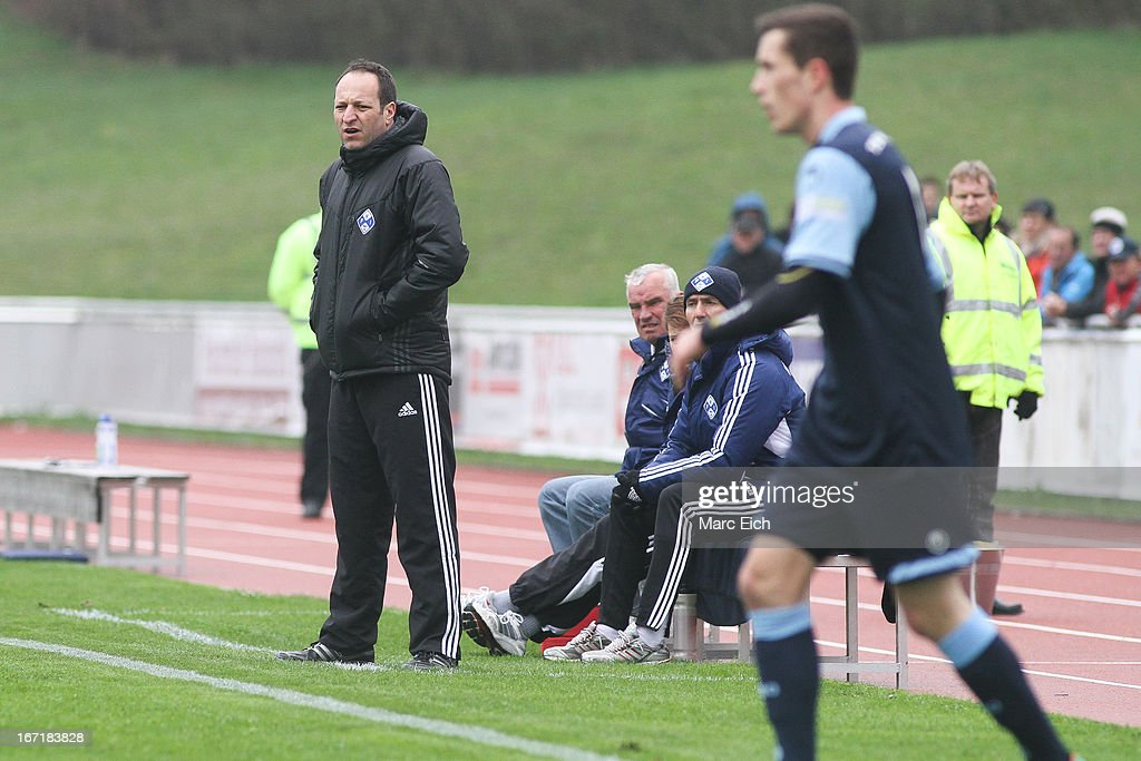 Illertissen's coach Holger Bachthaler looks on during the Regionalliga Bayern match between FV Illertissen and 1860 Muenchen II at Voehlinstadion on April 20, 2013 in Illertissen, Germany.