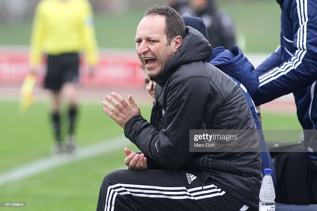 Illertissen's coach Holger Bachthaler reacts during the Regionalliga Bayern match between FV Illertissen and 1860 Muenchen II at Voehlinstadion on April 20, 2013 in Illertissen, Germany.