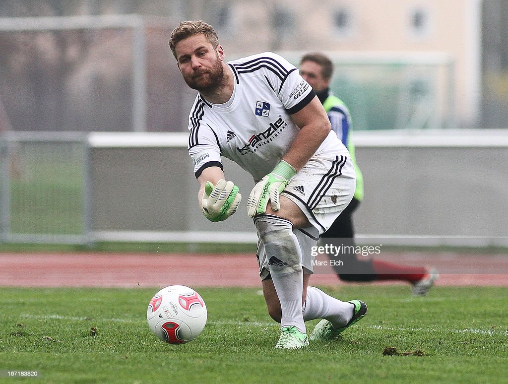 Illertissens's goalkeeper Patrick Roesch in action during the Regionalliga Bayern match between FV Illertissen and 1860 Muenchen II at Voehlinstadion on April 20, 2013 in Illertissen, Germany.