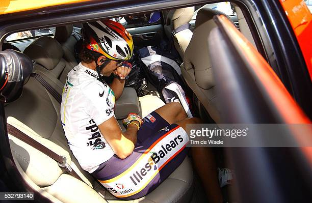 Illes Balears rider Alejandro Valverde of Spain gets in his team car during the 173km 13th stage of the 92nd Tour de France cycling race between...