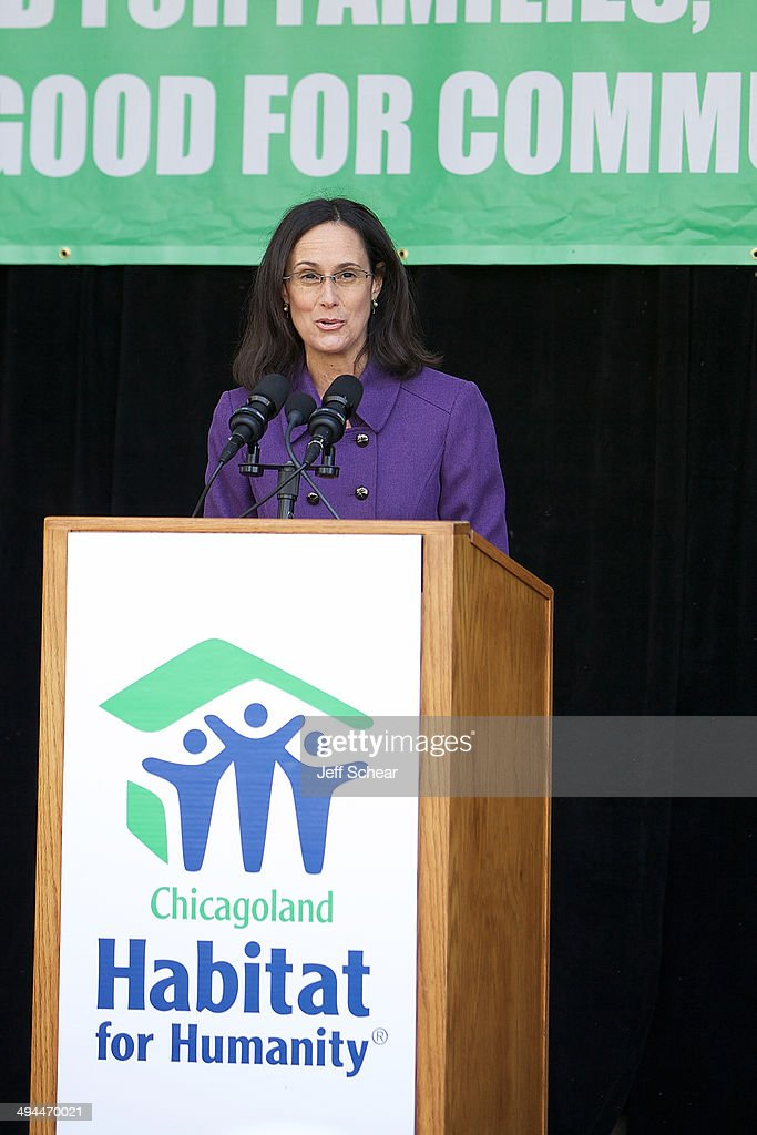 Illinois Attorney General <a gi-track='captionPersonalityLinkClicked' href=/galleries/search?phrase=Lisa+Madigan&family=editorial&specificpeople=2974155 ng-click='$event.stopPropagation()'>Lisa Madigan</a> helps kick off Habitat for Humanity's 'Raise Your Hand Chicagoland,' an unprecedented building blitz in the heart of downtown Chicago. From May 29 through June 1 at Pioneer Court Plaza, volunteers will come together with partner families to complete the initial construction of 13 homes. Immediately following, these new homes will be taken into communities across the region, where they will be finished and become a place 13 families can call their own. Those across the area are invited to attend 'Raise Your Hand Chicagoland' to tour a Habitat home, participate in family-friendly activities and learn more about Habitat for Humanity in Chicagoland, including future volunteer opportunities. Chicagoans can also show their support virtually using #RYHC and following Habitat for Humanity on Facebook, Twitter and Instagram (@ChicagoHabitat). For more information, visit chicagolandhabitat.org/RYHC.