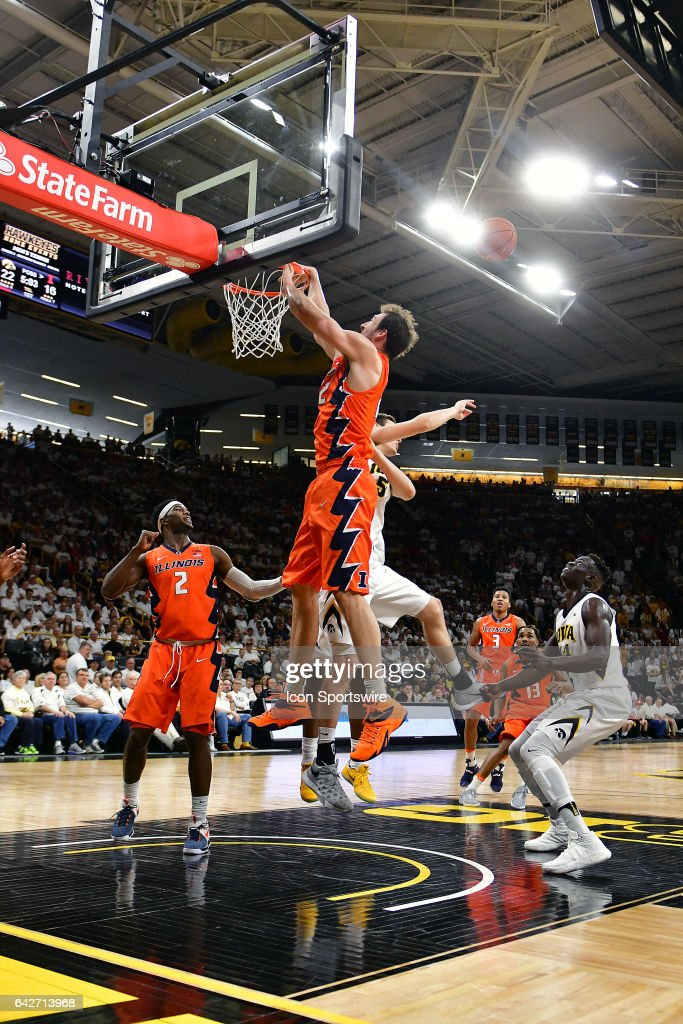 Illinois center Maverick Morgan (22) misses a dunk shot during a Big Ten Conference basketball game between the University of Illinois Fighting Illini and the University of Iowa Hawkeyes on February 18, 2017, at Carver-Hawkeye Arena in Iowa City, IA.
