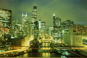 USA, Illinois, Chicago, city skyline, night