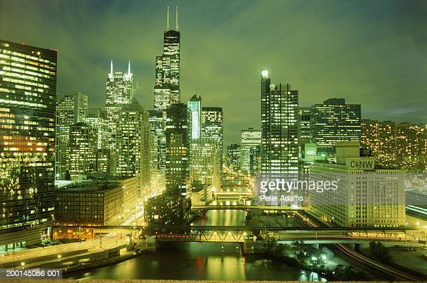 USA, Illinois, Chicago, city skyline, night