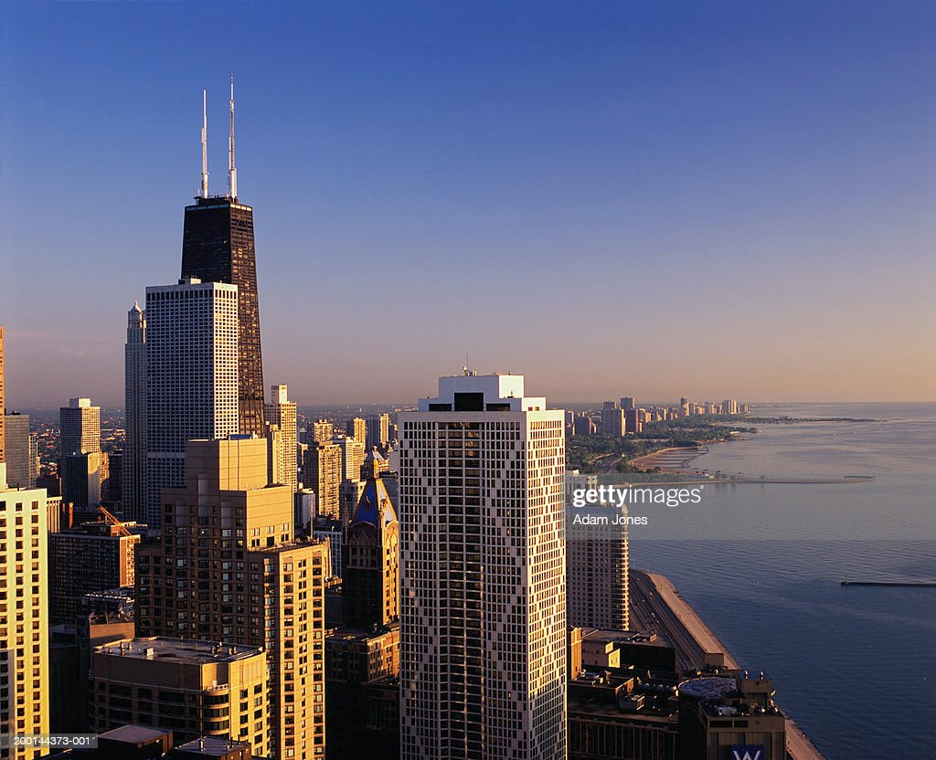 USA, Illinois, Chicago cityscape, sunrise,  Jun 2004 : Stock Photo