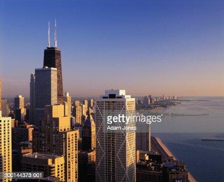 USA, Illinois, Chicago cityscape, sunrise,  Jun 2004
