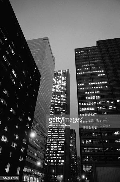 USA, Illinois, Chicago, downtown buildings, exteriors, night (B&W)