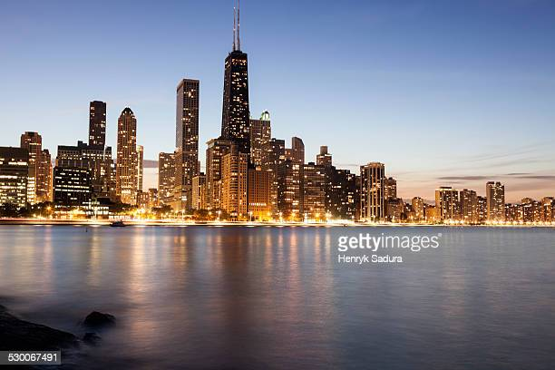 USA, Illinois, Chicago, Gold Coast buildings at dusk
