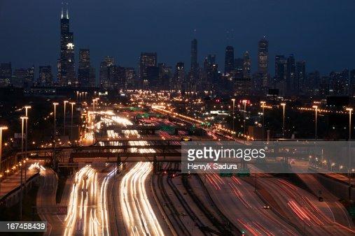 USA, Illinois, Chicago, light trail : Stock Photo