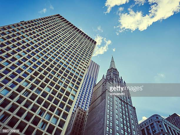 USA, Illinois, Chicago, old and new high-rise buildings from below