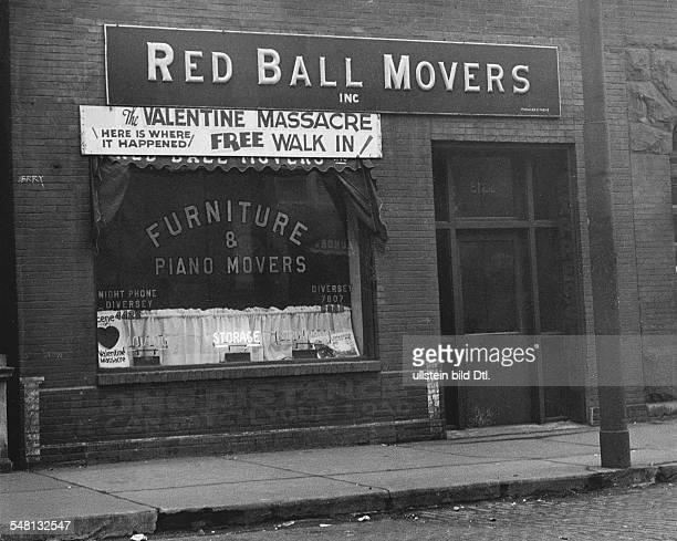 Shop where the Saint Valentine's Day massacre occured 1934 Photographer Martin Munkacsi Published by 'Berliner Illustrirte Zeitung' 15/1934 Vintage...