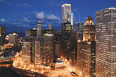 USA, Illinois, Chicago, The Loop, East Wacker Drive, dusk
