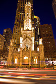 USA, Illinois, Chicago, Water Tower illuminated at night