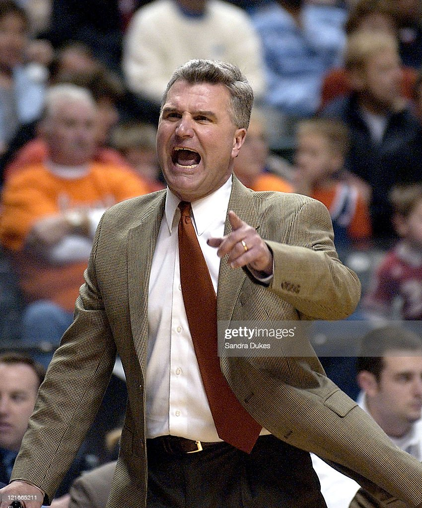 Illinois Coach <a gi-track='captionPersonalityLinkClicked' href=/galleries/search?phrase=Bruce+Weber+-+Basketball+Coach&family=editorial&specificpeople=15087708 ng-click='$event.stopPropagation()'>Bruce Weber</a> asks about a call in the first half of Illinois' 74-60 win at 2004 Big Ten Men's Basketball Tournament in Conseco Fieldhouse, March 13, 2004.