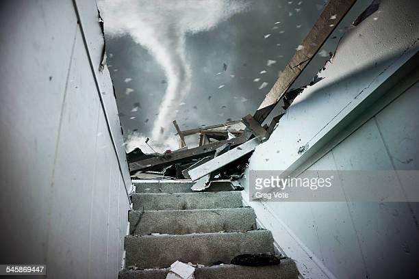 USA, Illinois, Demolished staircase of house during tornado