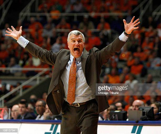 Illinois Fighting Illini coach Bruce Weber argues a call during the second half against the Michigan State Spartans at Assembly Hall in Champaign...